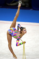 Oct 01, 2000; SYDNEY, AUSTRALIA:<br /> Yulia Raskina (BLR) performs rope during rhythmic gymnastics qualifying at 2000 Summer Olympics. Yulia went on to take Silver medal <br /> in the individual all around.