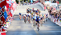 Picture by Simon Wilkinson/SWpix.com - 23/09/2017 - Cycling UCI 2017 Road World Championships Bergen Norway - Road Race <br /> Mens Junior- winner and rainbow jersey - JOHANSEN Julius - RASTELLI Luca, GAZZOLI Michele<br /> finish straight