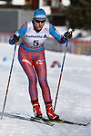 Natalia Matveeva in action at the sprint qualification of the FIS Cross Country Ski World Cup  in Dobbiaco, Toblach, on January 14, 2017. Credit: Pierre Teyssot