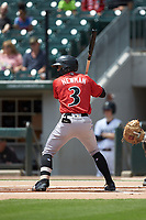 Kevin Newman (3) of the Indianapolis Indians at bat against the Charlotte Knights at BB&T BallPark on August 22, 2018 in Charlotte, North Carolina.  The Indians defeated the Knights 6-4 in 11 innings.  (Brian Westerholt/Four Seam Images)