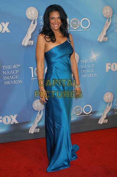 WENDY DAVIS.40th Annual NAACP Image Awards held at the Shrine Auditorium, Los Angeles, California, USA..February 12th, 2009.full length long maxi blue silk satin one shoulder dress .CAP/ADM/TC.©T. Conrad/AdMedia/Capital Pictures.