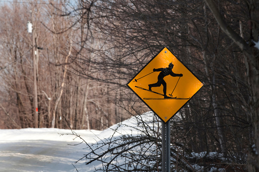 The Catamount Trail passes by The Blueberry Hill Inn and Cross Country Ski Center in Goshen, Vermont. A sign on Green Mountain National Forest Road 32 warns of skiers crossing the road.