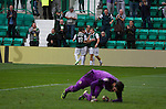 Home players celebrating Liam Henderson's opening goal at Easter Road stadium during the first-half of the Scottish Championship match between Hibernian and visitors Alloa Athletic. The home team won the game by 3-0, watched by a crowd of 7,774. It was the Edinburgh club's second season in the second tier of Scottish football following their relegation from the Premiership in 2013-14.