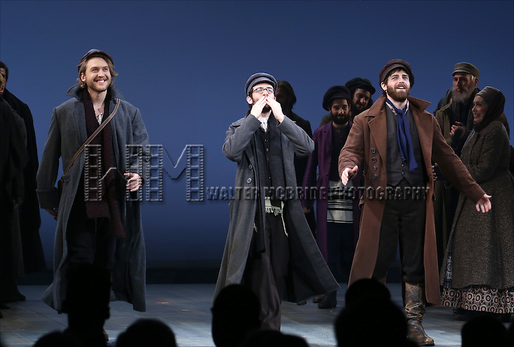Nick Rehberger, Adam Kantor and Ben Rappaport during the Broadway Opening Night Performance Curtain Call bows for 'Fiddler On The Roof'  at the Broadway Theatre on December 20, 2015 in New York City.