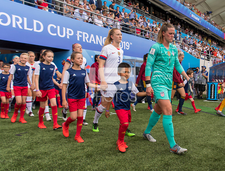 REIMS,  - JUNE 24: Samantha Mewis #3 and Alyssa Naeher #1 walk to the field during a game between NT v Spain and  at Stade Auguste Delaune on June 24, 2019 in Reims, France.