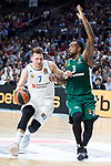 Real Madrid Luka Doncic and Panathinaikos KC Rivers during Turkish Airlines Euroleague Quarter Finals 4th match between Real Madrid and Panathinaikos at Wizink Center in Madrid, Spain. April 27, 2018. (ALTERPHOTOS/Borja B.Hojas)