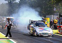 Aug. 3, 2014; Kent, WA, USA; NHRA funny car driver Jack Beckman during the Northwest Nationals at Pacific Raceways. Mandatory Credit: Mark J. Rebilas-