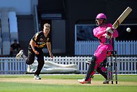 Logan Van Beek bowls during the Burger King Super Smash Twenty20 cricket match between the Wellington Firebirds and Northern Knights at the Hawkins Basin Reserve in Wellington, New Zealand on Wednesday, 20 December 2017. Photo: Dave Lintott / lintottphoto.co.nz