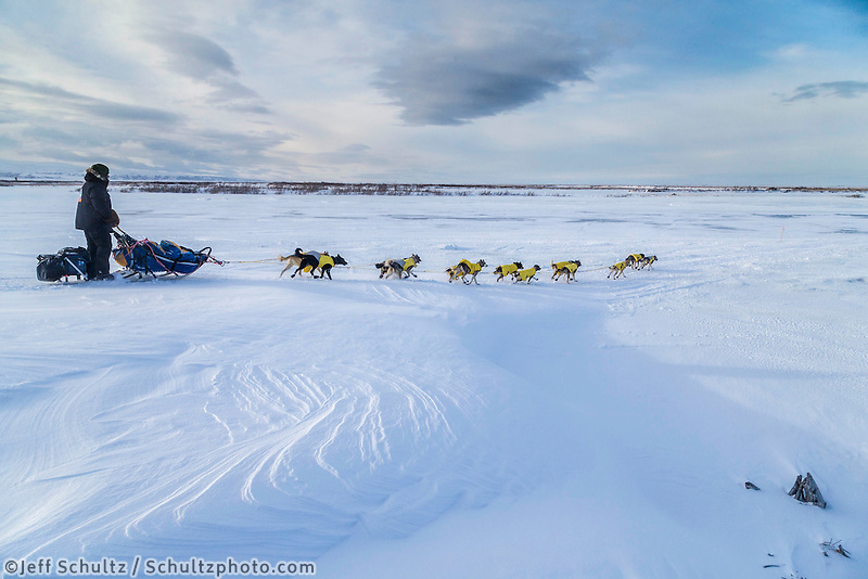 Mats Pettersson of Swedend on the trail in 30 mph wind several miles before the Unalakleet checkpoint on Monday March 16, 2015 during Iditarod 2015.  <br /> <br /> (C) Jeff Schultz/SchultzPhoto.com - ALL RIGHTS RESERVED<br />  DUPLICATION  PROHIBITED  WITHOUT  PERMISSION