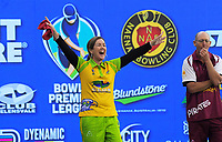 Lynsey Clarke (Hawks) celebrates during the Bowls Premier League final between the Gold Coast Hawks and Brisbane Pirates at Naenae Bowling Club in Wellington, New Zealand on Thursday, 26 April 2018. Photo: Dave Lintott / lintottphoto.co.nz