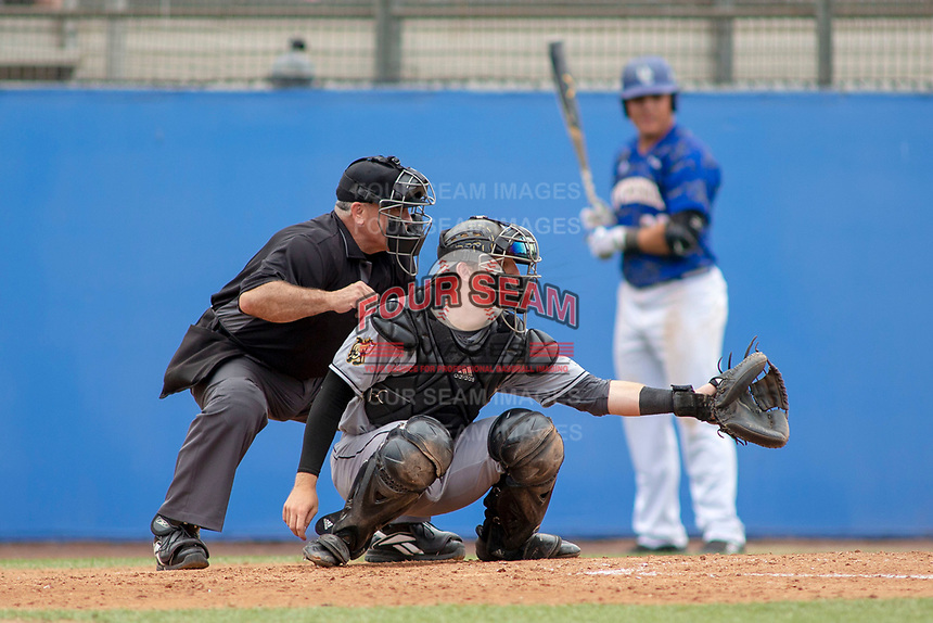 Cal Poly San Luis Obispo Mustangs Nick Meyer (26) sets a target at Riverside Sports Complex on May 26, 2018 in Riverside, California. The Cal Poly SLO Mustangs defeated the UC Riverside Highlanders 6-5. (Donn Parris/Four Seam Images)