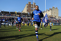 Taulupe Faletau and the rest of the Bath Rugby team run onto the field. Aviva Premiership match, between Bath Rugby and Sale Sharks on February 24, 2018 at the Recreation Ground in Bath, England. Photo by: Patrick Khachfe / Onside Images