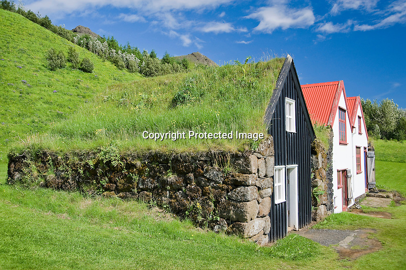 Sod Roofs and Historic Buildings at Skogar Folk Museum on the South Coast of Iceland