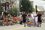 One of the Entries in The Great Saugerties Bed Race during the Pre-Race Parade on Partition Street in Saugerties, NY on Saturday, August 6, 2011. Photo by Jim Peppler. Copyright Jim Peppler/2011.