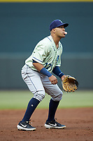 Wilmington Blue Rocks third baseman Angelo Castellano (17) on defense against the Winston-Salem Dash at BB&T Ballpark on April 17, 2019 in Winston-Salem, North Carolina. The Blue Rocks defeated the Dash 2-1. (Brian Westerholt/Four Seam Images)