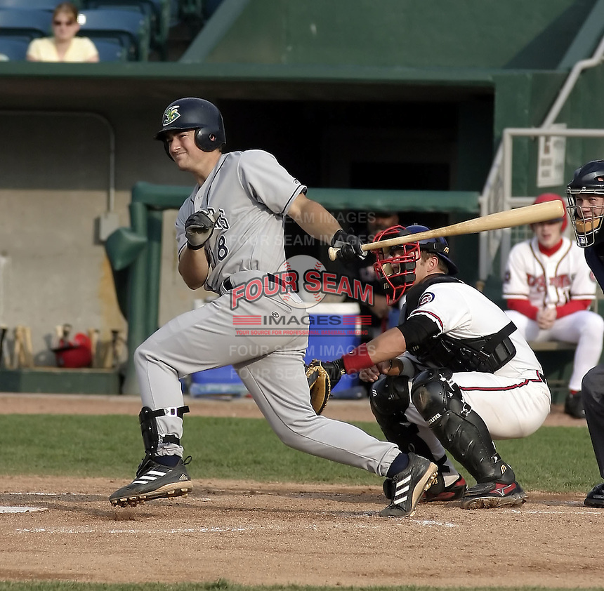 April 21, 2004:  Adam Heether of the Beloit Snappers, low-A affiliate of the Milwaukee Brewers, during a game at Oldsmobile Park in Lansing, MI.  Photo by:  Mike Janes/Four Seam Images