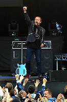 Mark King of Level 42 on stage<br /> UB40 concert at Parc Y Scarlets, Llanelli, Wales, UK. Saturday 10 June 2017