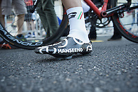 Adam Hansen's (AUS/Lotto-Soudal) famous selfmade, ultralight 'Hanseeno' carbon cycling shoes<br /> <br /> stage 17: Tirano - Lugano (SUI) (134km)<br /> 2015 Giro d'Italia