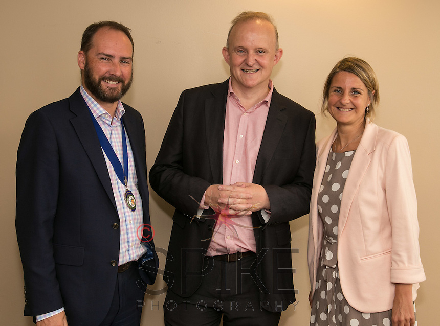 Club President James Simmonds with keynote speaker Ian Baxter of Baxter Freight and sponsor Ruth Swain of Actons Solicitors