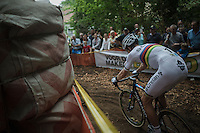 World Champion Wout Van Aert (BEL/Crelan-Vastgoedservice) descending fast<br /> <br /> Brico-cross Geraardsbergen 2016<br /> U23 + Elite Mens race