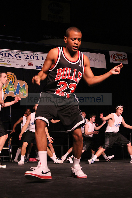 """A Beta Theta Pi brother dresses up like Michael Jordan for their performance of """"Space Jam"""" at the 2011 Greek Sing competition at Memorial Coliseum, Feb. 5, 2011. Photo by Kirsten Holliday 