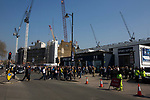 Supporters gathering outside the ground before Tottenham Hotspur took on Watford in an English Premier League match at White Hart Lane. Spurs were due to make an announcement in April 2016 regarding when they would move out of their historic home and relocate to Wembley as their new stadium was completed. Spurs won this match 4-0 watched by a crowd of 31,706, a reduced attendance figure due to the ongoing ground redevelopment.
