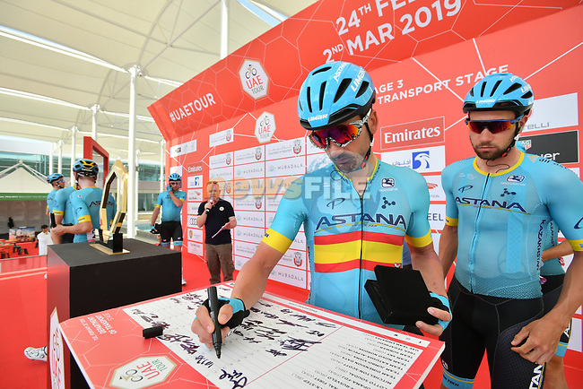 Spanish National Champion Gorka Izagirre (ESP) Astana Pro team signs on before the start of Stage 3 of the 2019 UAE Tour, running 179km form Al Ain to Jebel Hafeet, Abu Dhabi, United Arab Emirates. 26th February 2019.<br /> Picture: LaPresse/Massimo Paolone | Cyclefile<br /> <br /> <br /> All photos usage must carry mandatory copyright credit (© Cyclefile | LaPresse/Massimo Paolone)