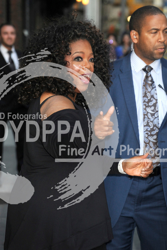 Oprah Winfrey leaves the 'Late Show with David Letterman' at the Ed Sullivan Theater in New York on May 14, 2015
