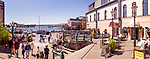 Panoramic scenery of people at Bastion square and Wharf street in downtown Victoria, BC on a sunny summer day. Paradiso Di Stelle cafe terrace. Victoria, Vancouver Island, British Columbia, Canada 2017.