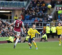 2nd February 2020; Turf Moor, Burnley, Lancashire, England; English Premier League Football, Burnley versus Arsenal; Charlie Taylor of Burnley kicks over Gabriel Martinelli of Arsenal
