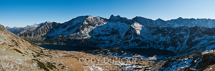 Panoramic view of Five Lakes Valley, Tatra mountains, Poland