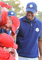 29 SEP 12  Tiger Woods says hi to some fans before Saturdays four ball matches  at The 39th Ryder Cup at The Medinah Country Club in Medinah, Illinois.