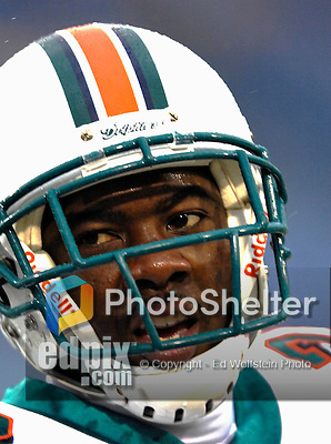 17 December 2006: Miami Dolphins cornerback Eddie Jackson warms up prior to a game against the Buffalo Bills at Ralph Wilson Stadium in Orchard Park, New York. The Bills defeated the Dolphins 21-0.. .Mandatory Photo Credit: Ed Wolfstein Photo<br />