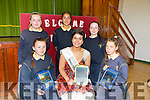 Rose Of Tralee Maria Walsh on Thursday when she came to Launches Presentation  school's new Web site on Thursday pictured Ellie Flynn, Michaela Marshall, Emma O'Donnell, Priscilla Goral and Maria O'Brien