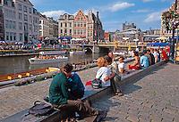 Belgien, Flandern, Leieufer an der Graslei in Gent
