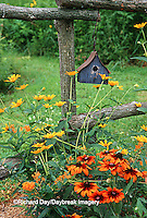 63821-19020 Birdhouse on rustic fence with Indian Summer Rudbeckia, Summer Nights Sunflower Helopsis, Butterfly weed, Marion Co., IL