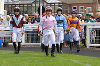 Jockeys enter the parade ring prior to The Shadwell Racing Excellence Apprentice Handicap   during Racing at Salisbury Racecourse on 5th September 2019