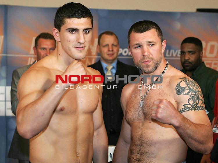 Wiegen IBF-Weltmeisterschaft Mittelgewicht Arthur Abraham (GER) und Sebastien Demers (CAN)<br /> Face to face  Marco Huck und  Vadim Tokarev<br /> Foto &copy; nph ( nordphoto )