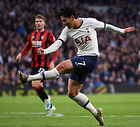 30th November 2019; Tottenham Hotspur Stadium, London, England; English Premier League Football, Tottenham Hotspur versus AFC Bournemouth; the shot from Son Heung-Min of Tottenham Hotspur goes wide - Strictly Editorial Use Only. No use with unauthorized audio, video, data, fixture lists, club/league logos or 'live' services. Online in-match use limited to 120 images, no video emulation. No use in betting, games or single club/league/player publications
