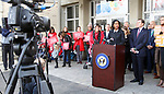 WATERBURY CT. 16 March 2018-031919SV08-Rep. Jahana Hayes, D-5th District, held a press conference with Sen. Richard Blumenthal, D-Conn and Rep. Rosa L. DeLauro, D-3rd District, to announce a bill she proposed to Prevent federal funding from being used to arm teachers in schools at Kennedy High in Waterbury Tuesday.<br /> Steven Valenti Republican-American