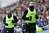 Borja Baston of Swansea City warms up during the Sky Bet Championship match between Cardiff City and Swansea City at the Cardiff City Stadium, Cardiff, Wales, UK. Sunday 12 January 2020