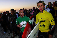 Dave Neilsen (AUS) and Josh Kerr (AUS), .Cottesloe Beach, Perth, Western Australia, Saturday August 18 2001..A round of  The Quiksilver Airshow International Series, with $20,000 in prize-money was run today at Cottesloe Beach. The Quiksilver Airshow is the richest and most spectacular surfing event to be staged at a Perth Beach. The contest is based around the futuristic moves of aerial surfing, where each surfer  is judged on their best two aerial manoeuvres in each heat. (Photo: joliphotos.com)