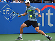 Washington, DC - August 2, 2017: Jordan Thompson of Australia plays during a match with Alexander Zverev at the Citi Open held at the Rock Creek Tennis Center in Washington, D.C., August 2, 2017.  (Photo by Don Baxter/Media Images International)
