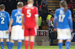 St Johnstone v Aberdeen.....07.12.13    SPFL<br /> Alan Mannus comes out of the crowd with the ball after an Aberdeen fan refused to give the ball back, the fan was ejected from the ground<br /> Picture by Graeme Hart.<br /> Copyright Perthshire Picture Agency<br /> Tel: 01738 623350  Mobile: 07990 594431