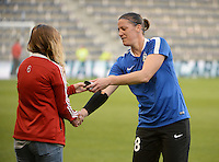 Kansas City, Kansas - Saturday April 16, 2016: FC Kansas City goalkeeper Nicole Barnhart (18) receives her championship ring before the game against Western New York Flash at Children's Mercy Park. Western New York won 1-0.