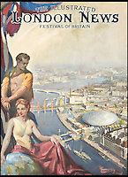 BNPS.co.uk (01202 558833)<br /> Pic: TerenceCuneo/Christies/BNPS<br /> <br /> ***Use Full Byline***<br /> <br /> The front cover of the Festival of Britian edition of The Illustrated London News, 1951., by Terence Cuneo<br /> <br /> Original art work chronicling major historical moments in British history that was for the world's first illustrated magazine is being sold at auction.<br /> <br /> The colourful drawings were for the front pages of The Illustrated London News and depict key events in the 20th century including the Royal wedding of Queen Elizabeth II and Phillip Mountbatten.<br /> <br /> Other moments in history illustrated include the coverage of both world wars and the Festival of Britain.<br /> <br /> The work is being sold by auctioneers Christie's in October