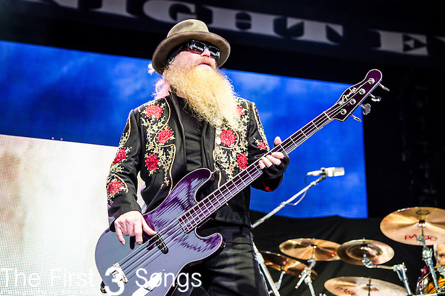 Dusty Hill of ZZ Top performs at Klipsch Music Center in Indianapolis, Indiana.