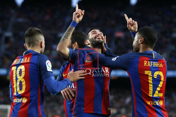 League Santander 2016/2017. Game: 18.<br /> FC Barcelona vs UD Las Palmas: 5-0.<br /> Jordi Alba, Aleix Vidal &amp; Rafinha.