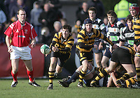 R.B.A.I. scrum half Nick Dempsey gets the ball away during the Northern Bank Schools Cup Final at Ravenhill. Result Wallace 0pts R.B.A.I. 15pts.