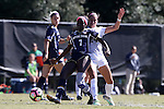 23 October 2016: Notre Dame's Karin Muya (ENG) (7) and Wake Forest's Peyton Perea (14). The Wake Forest University Demon Deacons hosted the University of Notre Dame Fighting Irish at Spry Stadium in Winston-Salem, North Carolina in a 2016 NCAA Division I Women's Soccer match. Notre Dame won the game 1-0.
